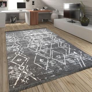 Teppich Fransen Skandinavisch Wohnzimmer Rauten Muster Karo In Grau Creme
