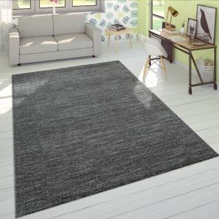 Wohnzimmer Teppich Kurzflor Modern Einfarbig Weich Velours Meliert Uni Anthrazit