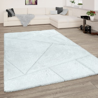 Hochflor Teppich Wohnzimmer Shaggy 3D Effekt Dreieck Muster Modern Weiss