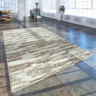 Kurzflor Wohnzimmer Teppich Used Look Mit Naturstein Optik In Beige Creme - Vorschau 1