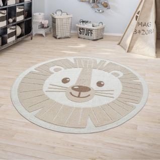 Kinderteppich Kinderzimmer Outdoorteppich Rund Spielteppich 3D Effekt Löwe Beige