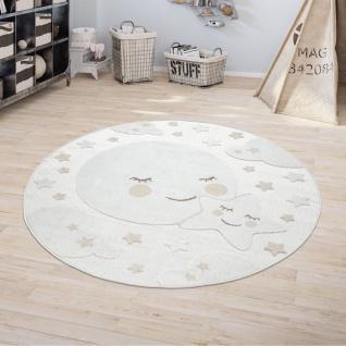 Kinderteppich Kinderzimmer Outdoorteppich Rund Spielteppich 3D Effekt Mond Beige