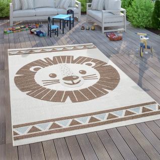 Kinderteppich Kinderzimmer Outdoorteppich Spielteppich 3D Effekt Löwe Beige