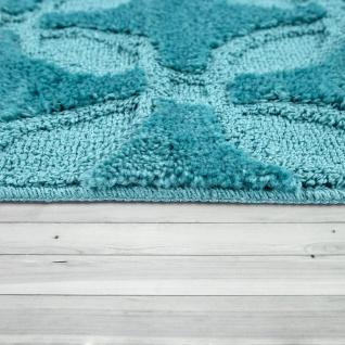 Badematte, Kurzflor-Teppich Für Badezimmer Einfarbig Kreis-Muster, In Türkis - Vorschau 2