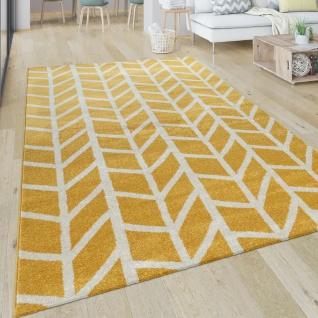 Teppich Wohnzimmer Muster Geometrisch Modern Kurzflor Streifen In Gelb Grau