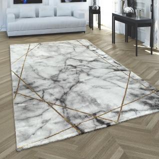 Teppich Wohnzimmer Grau Gold Weich Marmor Muster 3-D Linien Hochwertig Kurzflor