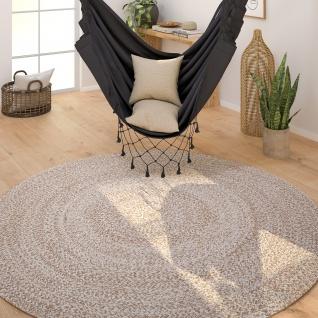 Teppich Rund Wohnzimmer Jute Modern Boho Handgefertigter Natur-Teppich Uni Beige