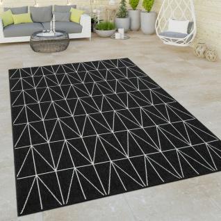 Outdoor Indoor Teppich Schwarz 3D Skandi Muster Skandinavisches Design Kurzflor