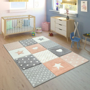 Kinderteppich Kinderzimmer Für Mädchen U. Jungen Mit Karo-Muster In Apricot Grau - Vorschau 1