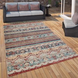 Outdoor Teppich Küchenteppich Balkon Terrasse Vintage Ethno Muster Rot Blau Beige