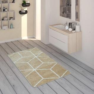 Badematte Mit Rauten-Muster, Kurzflor-Teppich Für Badezimmer In Beige Weiß