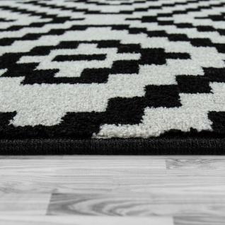 Kurzflor Teppich Schwarz Weiß Wohnzimmer Ethno-Look Design Rauten Muster - Vorschau 2
