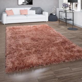 Hochflor-Teppich, Shaggy Für Wohnzimmer, Mit Glitzer-Garn, Braun Terrakotta - Vorschau 1