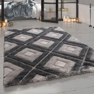 Shaggy Teppich Grau Wohnzimmer Hochflor Rauten Muster Kuschelig Weich Robust