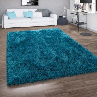 Hochflor-Teppich, Shaggy Für Wohnzimmer, Mit Glitzer-Garn, Einfarbig In Türkis