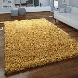 Teppich Wohnzimmer Hochflor Schlichtes Design Modern Einfarbig Unifarben Gelb