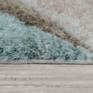 Teppich Wohnzimmer Bunt Türkis Braun Weich Shaggy Flauschig Abstrakt Hochflor - Vorschau 2
