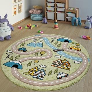 Kinderteppich Kinderzimmer Teppich Rund Kurzflor Straßen Design In Pastell Grün