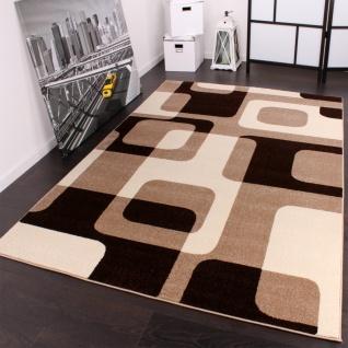 Designer Teppich in Braun Beige Creme Retro Design