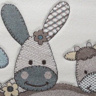 Kinderteppich, Moderner Kinderzimmer Pastell Teppich, Niedliche 3D Tiermotive - Vorschau 3