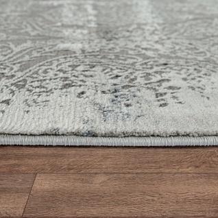 Moderner Kurzflor Wohnzimmer Teppich 3D Optik Orientalisches Muster In Grau Blau - Vorschau 2