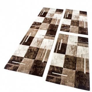 Bettumrandung Teppich Marmor Optik Karo Braun Beige Creme Läuferset 3 Tlg - Vorschau 1