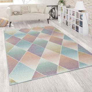 Wohnzimmer Teppich Bunt Retro Design Pastellfarben Rauten Muster Weich Kurzflor