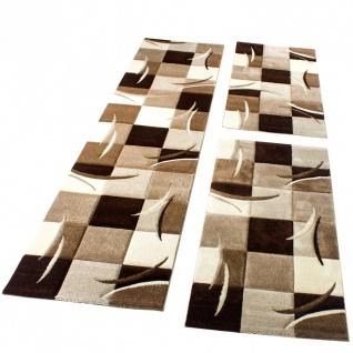Bettumrandung Läufer Teppich Modern Karo Braun Creme Beige Läuferset 3 Tlg.