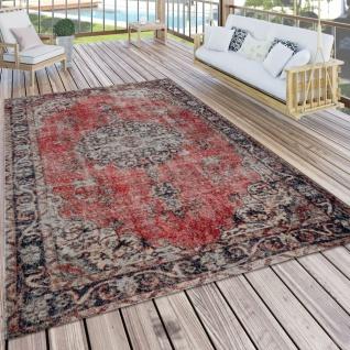 In- & Outdoor-Teppich Mit Orient-Muster, Für Balkon Und Terrasse, In Rot