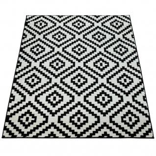 Kurzflor Teppich Schwarz Weiß Wohnzimmer Ethno-Look Design Rauten Muster - Vorschau 4
