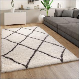 Hochflor Teppich Wohnzimmer Shaggy Langflor Skandinavisches Muster Creme Grau