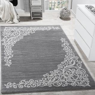 Designer Teppich Mit Floral Muster Glitzergarn Grau Weiß Anthrazit Meliert