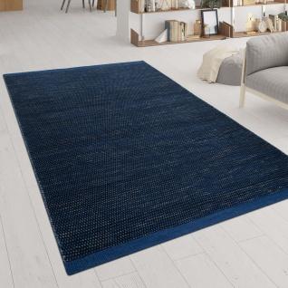 Handgewebter Teppich Flachgewebe Skandinavischer Look Meliert Webmuster In Blau