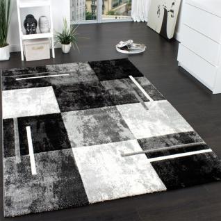 Designer Teppich Modern mit Konturenschnitt Karo Muster Marmor Optik Grau Creme