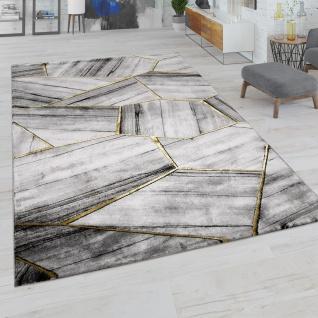 Teppich Wohnzimmer Kurzflor Geometrisches Abstraktes Muster Streifen Grau Gold