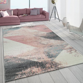 Teppich Wohnzimmer Grau Weiß Rosa Pastell Dreieck Muster Vintage Design Kurzflor