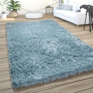 Hochflor Teppich Wohnzimmer Shaggy Pastell Einfarbig Weich Flauschig Türkis