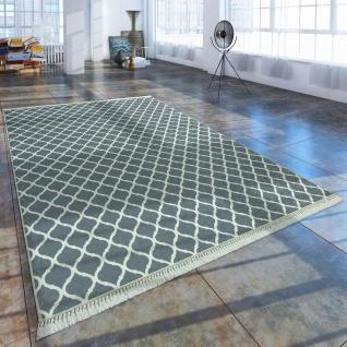 Moderner Teppich Mit Bedrucktem Marokkanischen Muster Trend Grau Weiß