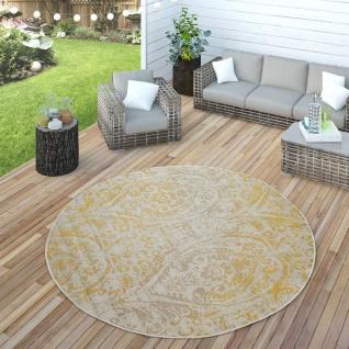 In- & Outdoor Teppich Modern Shabby Chic Stil Terrassen Teppich Wetterfest Gelb - Vorschau 4