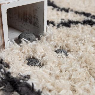 Hochflor Teppich Wohnzimmer Shaggy Skandi Rauten Muster Weich Flauschig In Creme - Vorschau 3