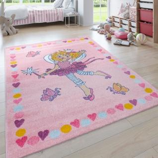 Kinder-Teppich Prinzessin Lillifee, Kurzflor Für Kinderzimmer, Bordüre, in Rosa