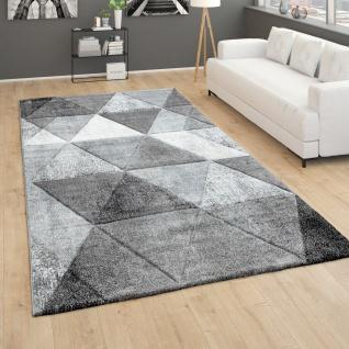 Teppich Wohnzimmer Vintage Kurzflor 3D Effekt Geometrisches Muster Modern Grau