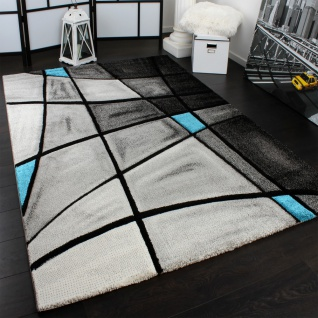 Designer Teppich Karo Modern Handgearbeiteter Konturenschnitt Grau Türkis