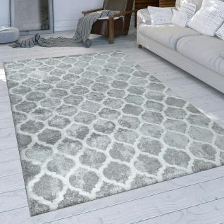 Kurzflor Teppich Grau Wohnzimmer Orient Design Marokkanisches Muster Used Look