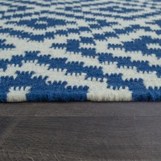 Teppich Modern Marokkanische Muster Handgewebt Skandi Rauten Fransen Blau Weiß - Vorschau 2