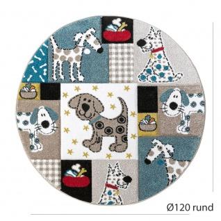 Kinderteppich Kinderzimmer Konturenschnitt Hunde Welt Beige Blau Pastellfarben - Vorschau 4