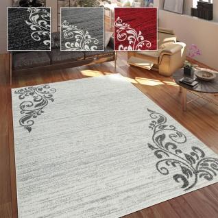 Wohnzimmer Teppich, Moderne Ornamente, Zeitloser Kurzflor Mit Floralem Design