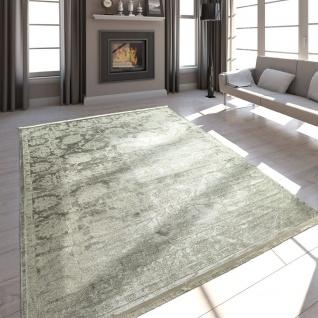 Hochwertiger Wohnzimmer Teppich Moderne Satin Optik Barock Design Fransen Beige