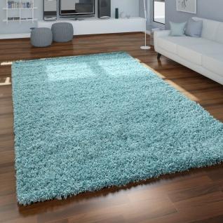 Hochflor Teppich Wohnzimmer Türkis Blau Kuschelig Weich Shaggy Strapazierfähig