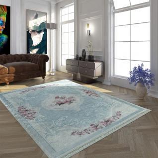 Moderner Teppich Mit Bedrucktem Vintage Muster Trend Design Rosa Blau